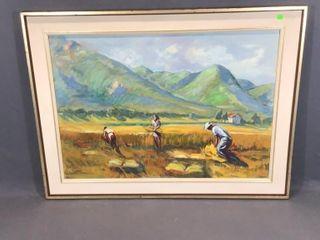 Crop Harvesting Oil Painting