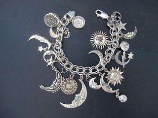 Sterling Charm Bracelet Moon  Sun   Stars Theme