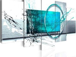 5 PCS TURQUOISE EXPRESSION WAll ART TEAl