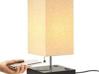lECONE TABlE lAMP WITH WIRElESS CHARGING   USB AC