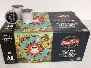48 KEURIG K CUP PODS TIMOTHY S ORIGINAl DONUT