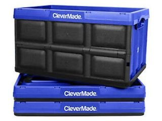 3 PACK  62l  ClEVERMADE STACKABlE STORAGE BINS