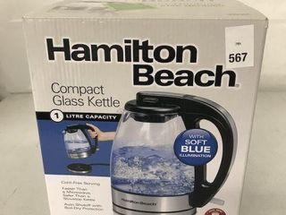 HAMIlTON BEACH COMPACT GlASS KETTlE 1 lITRE