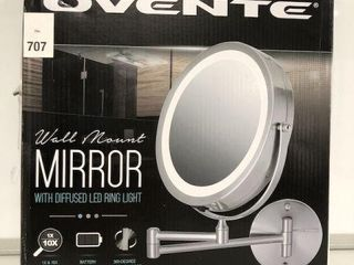 OVENTE WAll MOUNT MIRROR WITH lED RING lIGHT SIZE