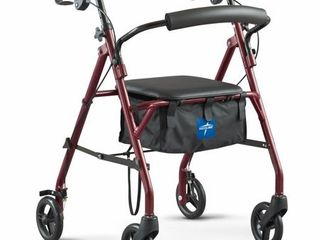 Medline Steel Rollator Walker Folding Rolling Walker