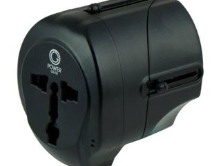 International Travel Adapter with USB and AC Outlet  black