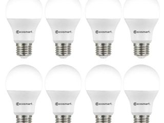 EcoSmart 60 Watt Equivalent A19 Non Dimmable lED light Bulb Daylight  8 Pack