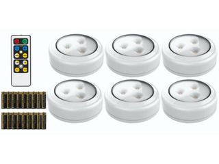 Brilliant Evolution BRRC135 Wireless lED Puck light 6 Pack With Remote Control   Operates On 3 AA Batteries   Kitchen Under Cabinet lighting