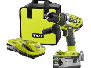 RYOBI 18 Volt ONE  lithium Ion Cordless Brushless 1 2 in  Hammer Drill Driver Kit with 4 0Ah lITHIUM  Battery  Charger and Bag
