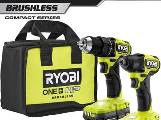 RYOBI ONE  HP 18V Brushless Cordless Compact 1 2 in  Drill and Impact Driver Kit with  2  1 5 Ah Batteries  Charger and Bag