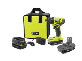 RYOBI 18 Volt ONE  lithium Ion Cordless 1 4 in  Impact Driver Kit with  2  1 5 Ah Batteries  Charger  and Bag
