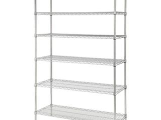 HDX Chrome 6 Tier Heavy Duty Metal Wire Shelving Unit  48 in  W x 72 in  H x 18 in  D  Chrome with clear coat
