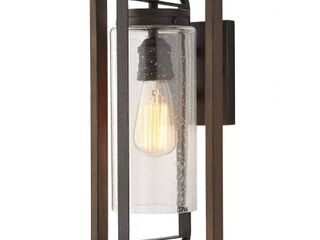 Home Decorators Collection Palermo Grove 1 light Gilded Iron Outdoor Wall lantern Sconce with Walnut Wood Accents