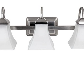 Hampton Bay 3 light Brushed Nickel lED Vanity Bathroom light W  Frosted Shades