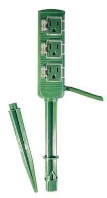 Go Green Power 18 2 18 3 Outlet Outdoor Power Stake  Green   GG 36004   Quill