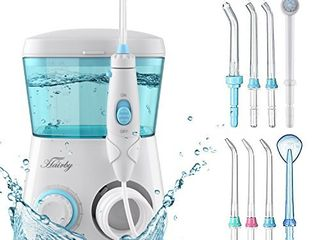 HAIRBY Dental Water Flosser  Dental Oral Irrigator  Waterproof leakproof  8 Interchangeable Water Jet Tips   10 Adjustable Water Pressure  600 Ml Capacity  for Travel and Family Use