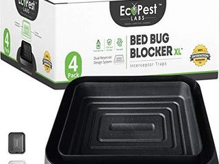 Bed Bug Interceptors 4 Pack   Bed Bug Blocker  Xl  Interceptor Traps  Black    Extra large Insect Trap  Monitor  and Detector for Bed legs