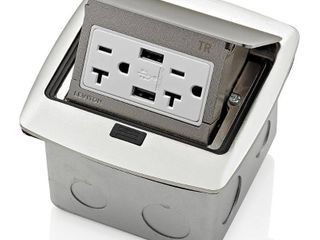 leviton Pop Up Floor Box with Dual Type A  3 6 Amp USB Charger  20Amp Outlet  Brushed Nickel