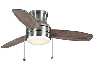 Home Decorators Collection Ashby Park 44 in  White Color Changing Integrated lED Brushed Nickel Ceiling Fan with light Kit