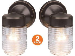 Design House 587311 Jelly Jar Classic 1 light 2 Pack Indoor Outdoor Wall light with Clear Ribbed Glass for Entryway Porch Patio  Oil Rubbed Bronze