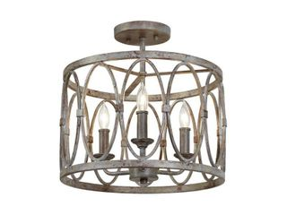 Feiss SF346 Deep Abyss Patrice 3 light 14  Wide Semi Flush Ceiling Fixture