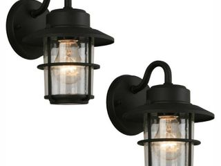 Hampton Bay 1 light Black Outdoor Wall lantern Sconce  2 Pack