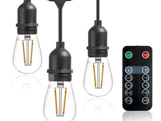 Newhouse lighting lED String lights with Weatherproof Technology  Dimmable with Wireless Remote Control  48ft and 16  15 1 free  lED light Bulbs Included