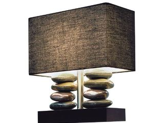 Elegant Designs lT1036 BlK Rectangular Dual Stacked Stone Ceramic Table lamp with Black Shade