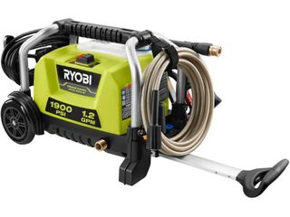 RYOBI 1900 PSI 1 2 GPM Cold Water Wheeled Electric Pressure Washer  Missing Nozzle  Hose  Wand