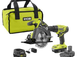 RYOBI 18 Volt ONE  lithium Ion Cordless 2 Tool Combo Kit w  Drill Driver  Circular Saw   2  1 5 Ah Batteries  Charger  and Bag