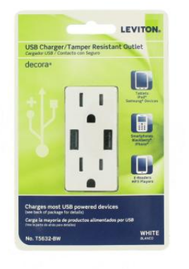 leviton 3 6A USB Dual Type A In Wall Charger with 15 Amp Tamper Resistant Outlets  White