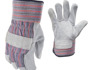 FIRM GRIP leather Palm large Gloves  3 Pairs  Gray