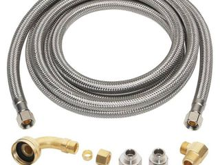 Everbilt 3 8 in  x 3 8 in  x 96 in  Stainless Steel Universal Dishwasher Supply line  Silver