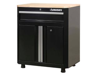 Husky Ready to Assemble 28 in  W x 33 in  H x 18 in  D 1 Drawer 2 Door Steel Garage Base Cabinet in Black