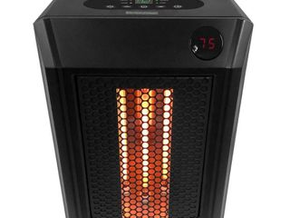 lifesmart 1 500 Watt Electric Infrared Portable Space Heater  4 Elements and Remote  Black