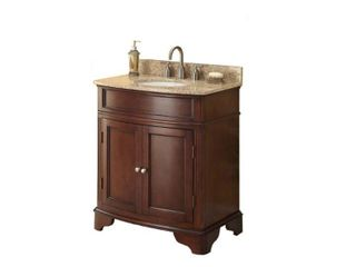 Pegasus 31 in  W x 35 in  H x 20 in  D Vanity in Cherry with Marble Vanity Top in Cream and White Basin