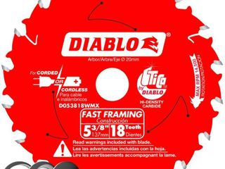 Diablo D053818WMX 5 3 8 in  x 18 Tooth Fast Framing Saw Blade