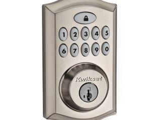 Kwikset 913 SmartCodeAr Ul Electronic Deadbolt featuring SmartKeyAr in Satin Nickel