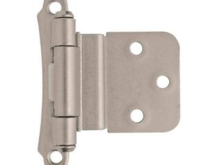 3 8in  10 mm  Inset Self Closing  Face Mount Satin Nickel Hinge   2 Pack Qty  9