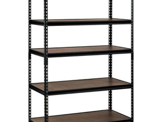 Wall Systems and Cabinets  Edsal Garage Shelving 48 in  W x 72 in  H x 24 in  D Steel Commercial Shelving Unit Black UR 245WGB