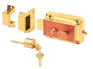 Rim Deadbolt  Cast Bronze Construction  Polished Brass Plated Finish  Copper Painted Textured Surface