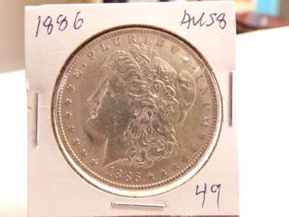1886 MORGAN DOllAR   AU58