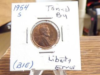 1954 S lINCOlN CENT BU TONED  lIBERTY ERROR