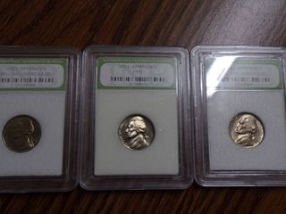 3 JEFFERSON NICKElS   1973 S BU  1992 D BU  1968 S BU