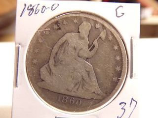 1860 O SEATED lIBERTY HAlF DOllAR   G