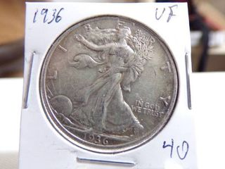 1936 WAlKING lIBERTY HAlF DOllAR   VF