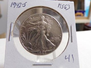 1942 S WAlKING lIBERTY HAlF DOllAR   MS63