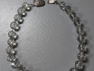 Silver Stamped 830   Glass Bead Vintage Necklace