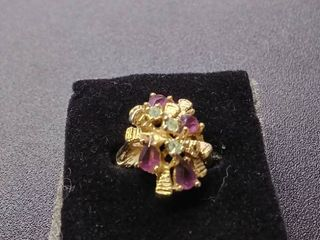 Beautiful Multi Purple Stone Ring