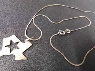 Sterling Silver Necklace With Texas Charm